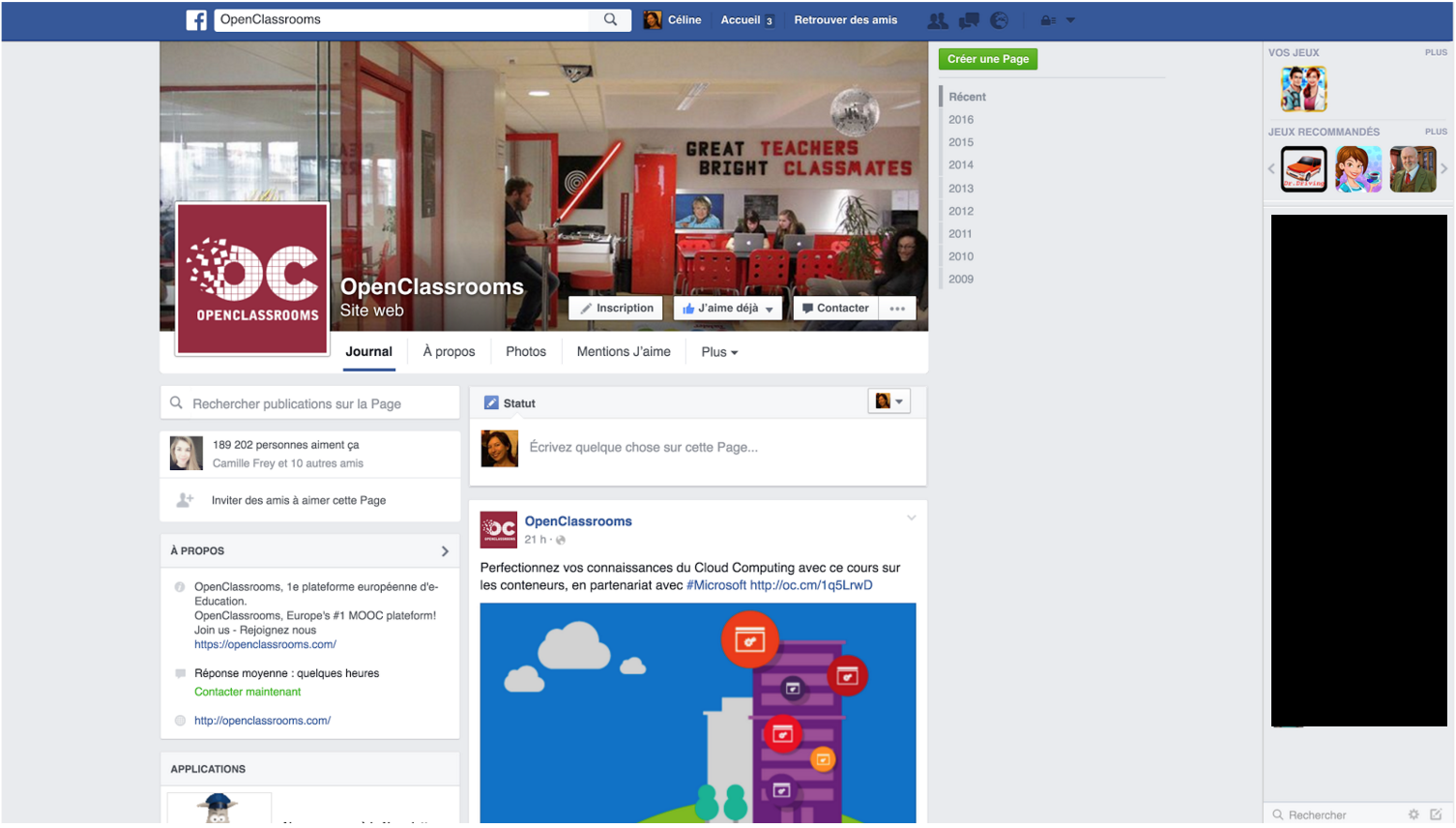 La Page d'OpenClassrooms