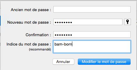 Création de mot de passe