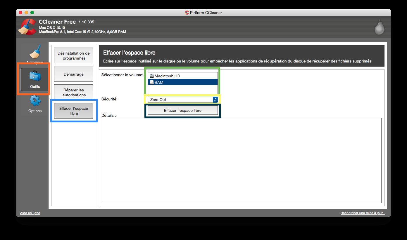 Effacer l'espace libre avec CCleaner sur Mac