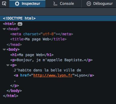 Arborescence de la page Web d'exemple dans l'inspecteur Firefox