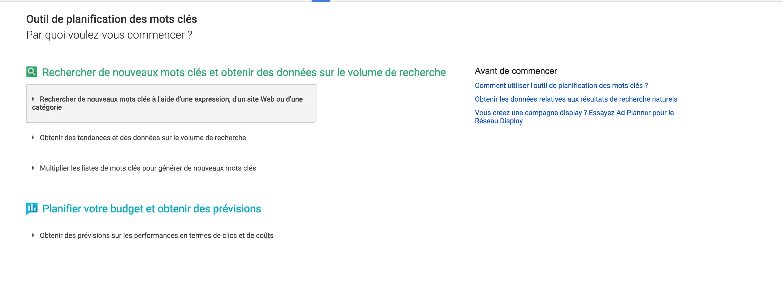 Rechercher un nouveau mot-clé sur l'outil de Google AdWords
