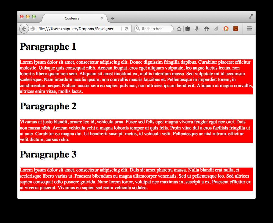 Résultat avec du texte blanc sur fond rouge