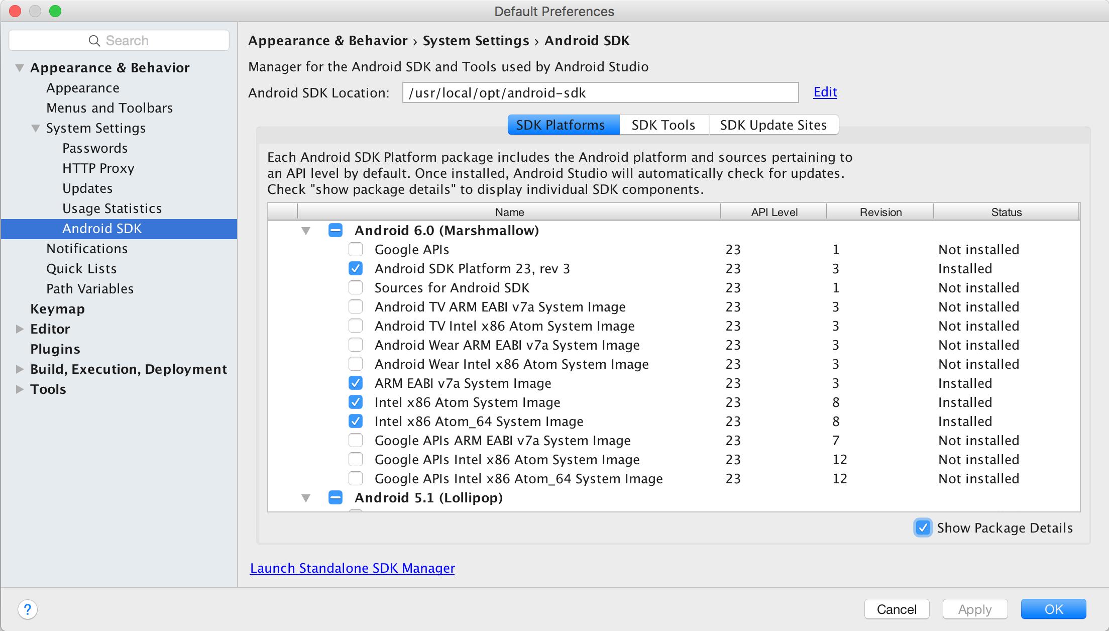 Liste des SDK Android disponibles