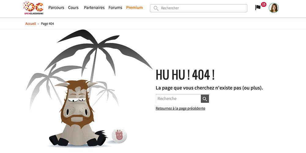Page erreur du site OpenClassrooms