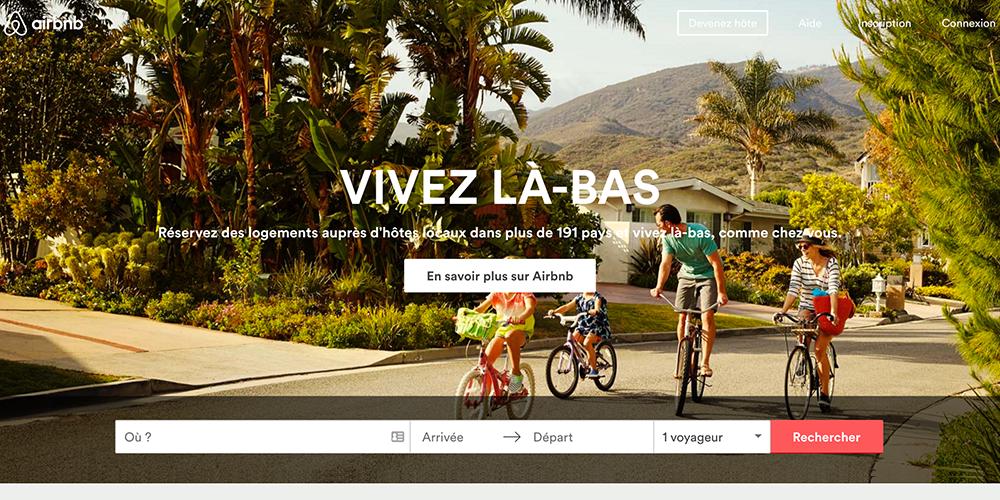 Page d'accueil du site www.airbnb.fr