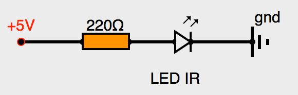 Connexion d'une LED infrarouge avec résistance de protection.