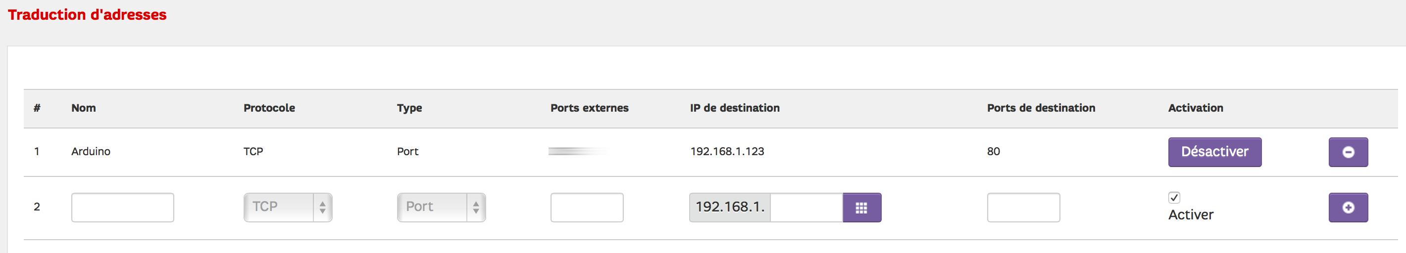Relier l'adresse externe et un port précis, à l'adresse fixe interne (ici sur neufBox)