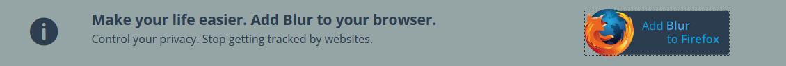 Bannière pour ajouter Blur à Firefox