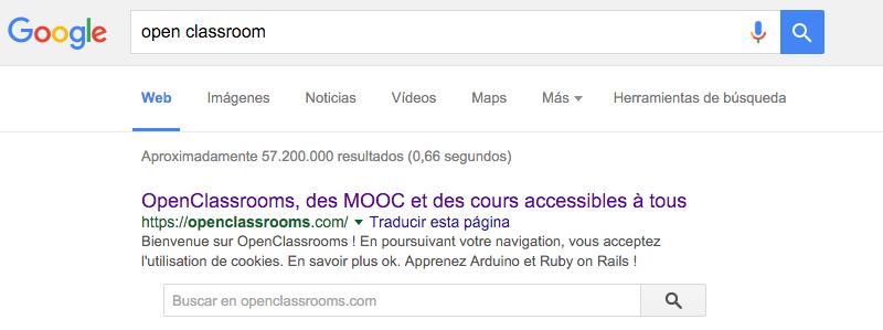 El título de la página figura en las búsquedas en Google