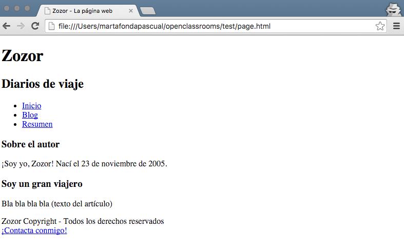 Una página que está bien estructurada pero sin CSS