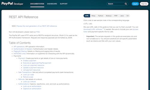 La documentation de l'API de PayPal