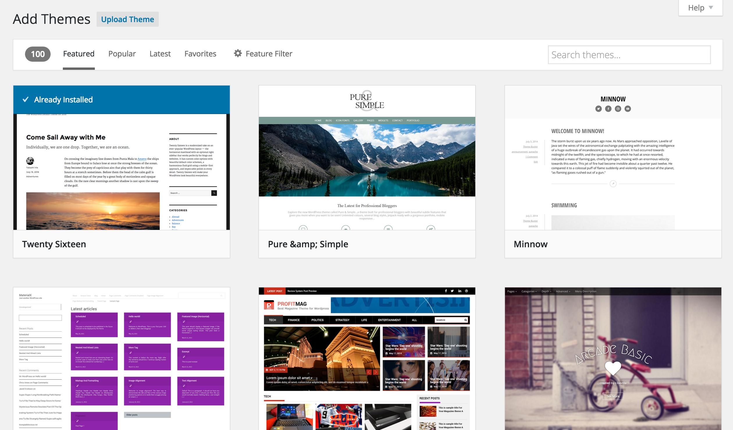 WordPress theme browser