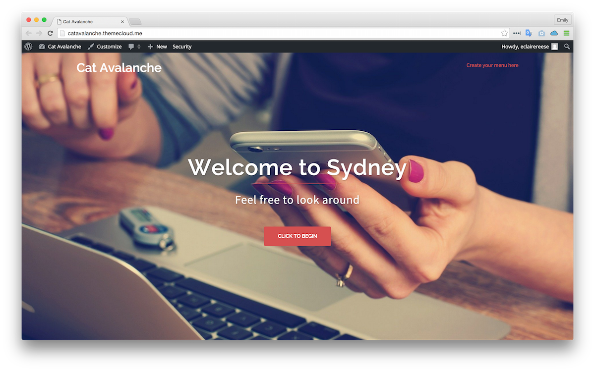 Sydney theme applied to my sample site