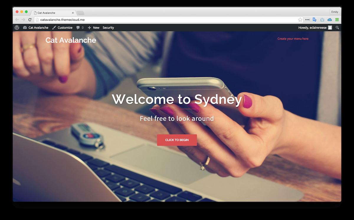Le thème Sydney appliqué à mon site d'exemple (Remarquez le titre
