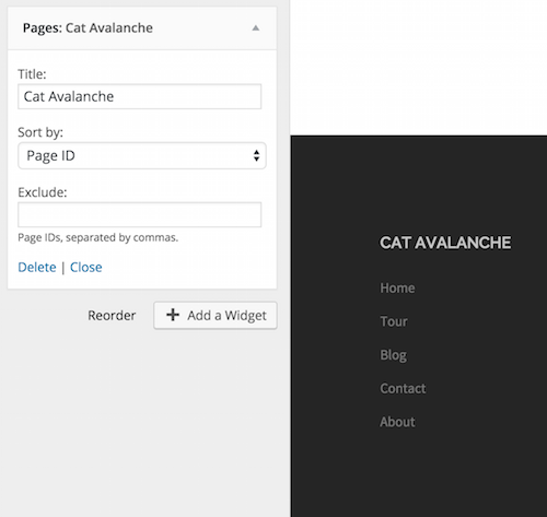 Adding pages list to the footer