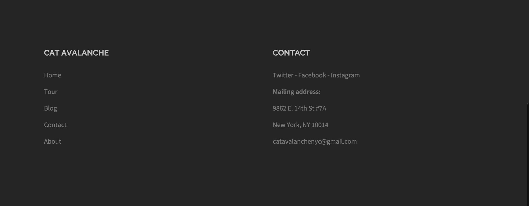 Mon pied de page final avec 2 widgets (pages et contact)