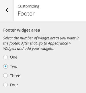 Sélection des widgets de pied de page