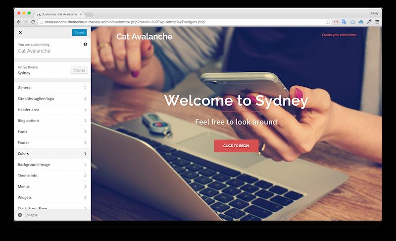 Apparence par défaut du thème Sydney