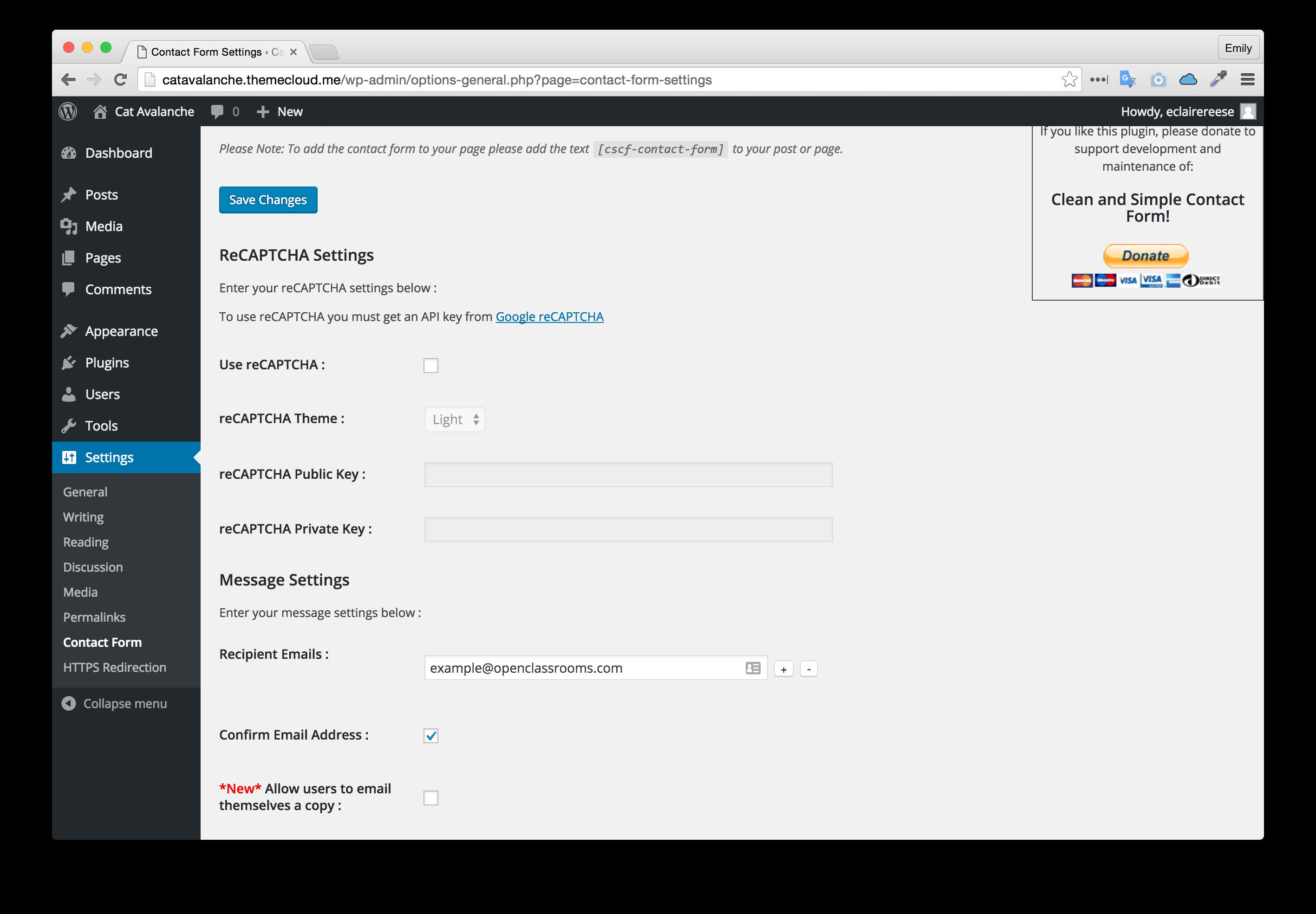 Contact plugin settings