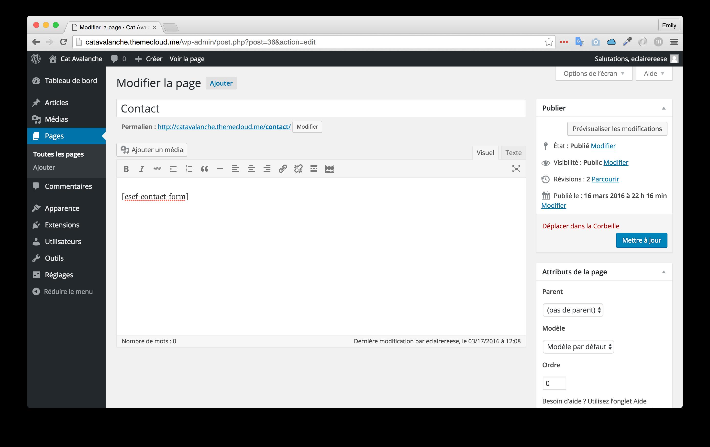 L'intégration du plugin dans la page de contact