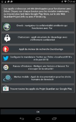 Liste des applications recommandées par Orbot