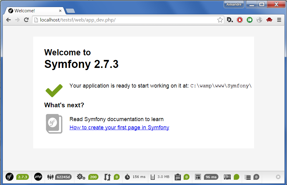 Une page d'exemple de Symfony2