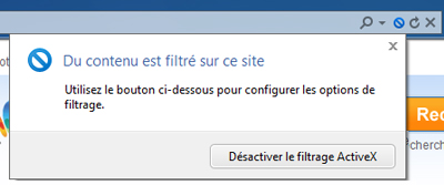 Désactiver le filtrage ActiveX
