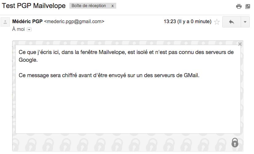 Affichage du message déchiffré par Mailvelope