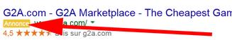 Un lien commercial placé en tête des résultats de la recherche avec la mention