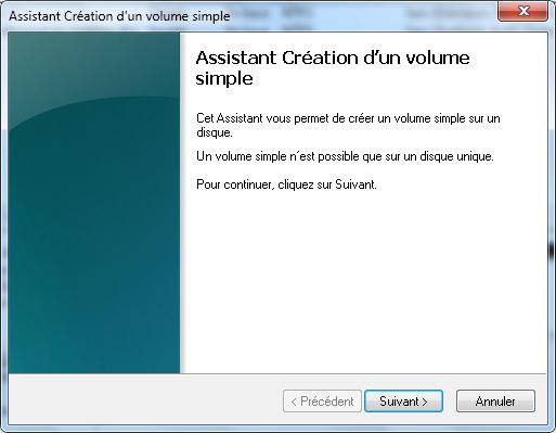 Assistant création de volume
