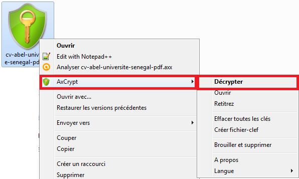 Déchiffrement d'un fichier AxCrypt