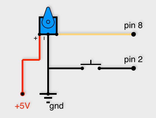 Potentiomètre au pin 8 et bouton poussoir au pin 2