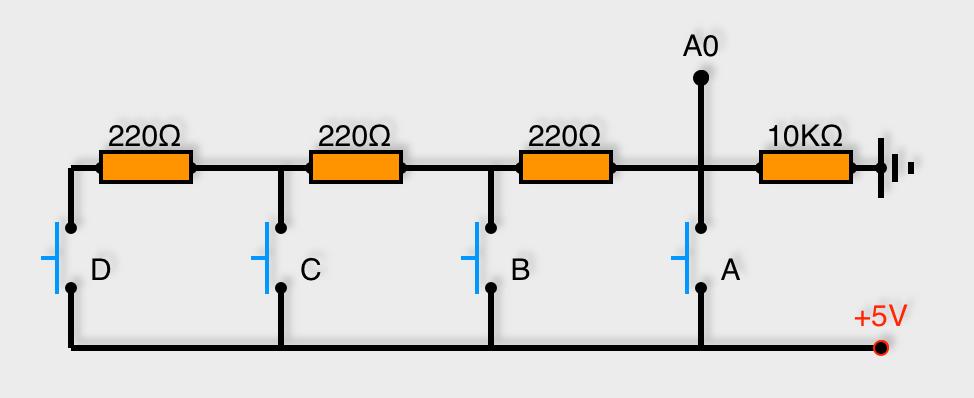 4 boutons poussoir montés en dérivation