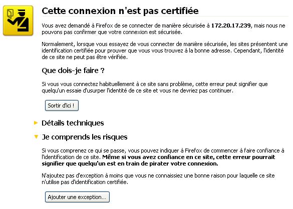 Alerte de sécurité sous Firefox. Image tirée de linuxfr.org