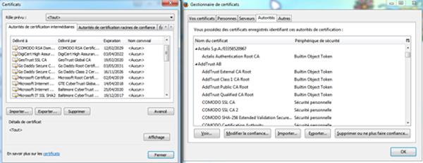 Les gestionnaires d'autorités de certificats de Chrome et Firefox