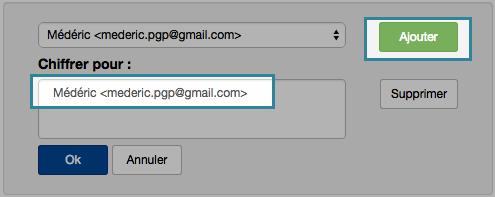 Chiffrement d'un message depuis Mailvelope