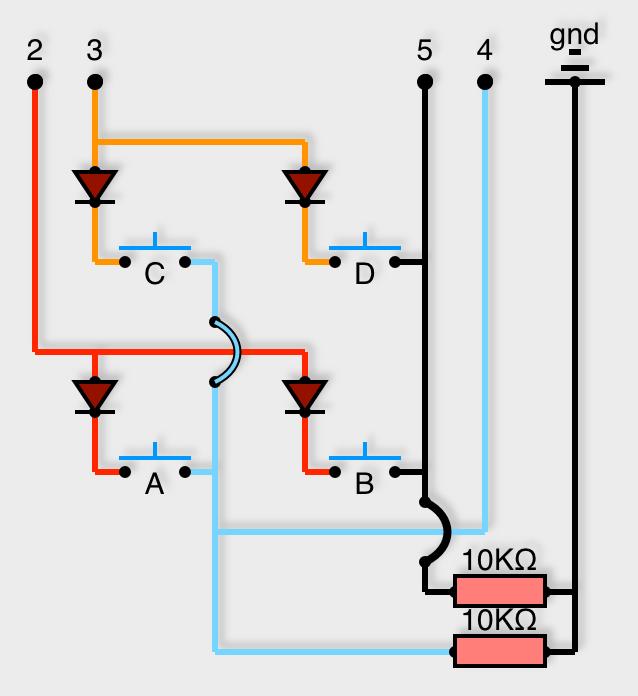 Matrice de 2x2 boutons poussoir, avec diodes et résistance pull-down