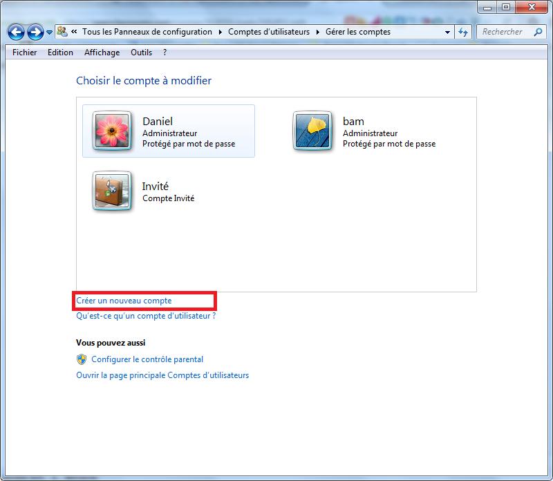 Création de compte sur Windows 7