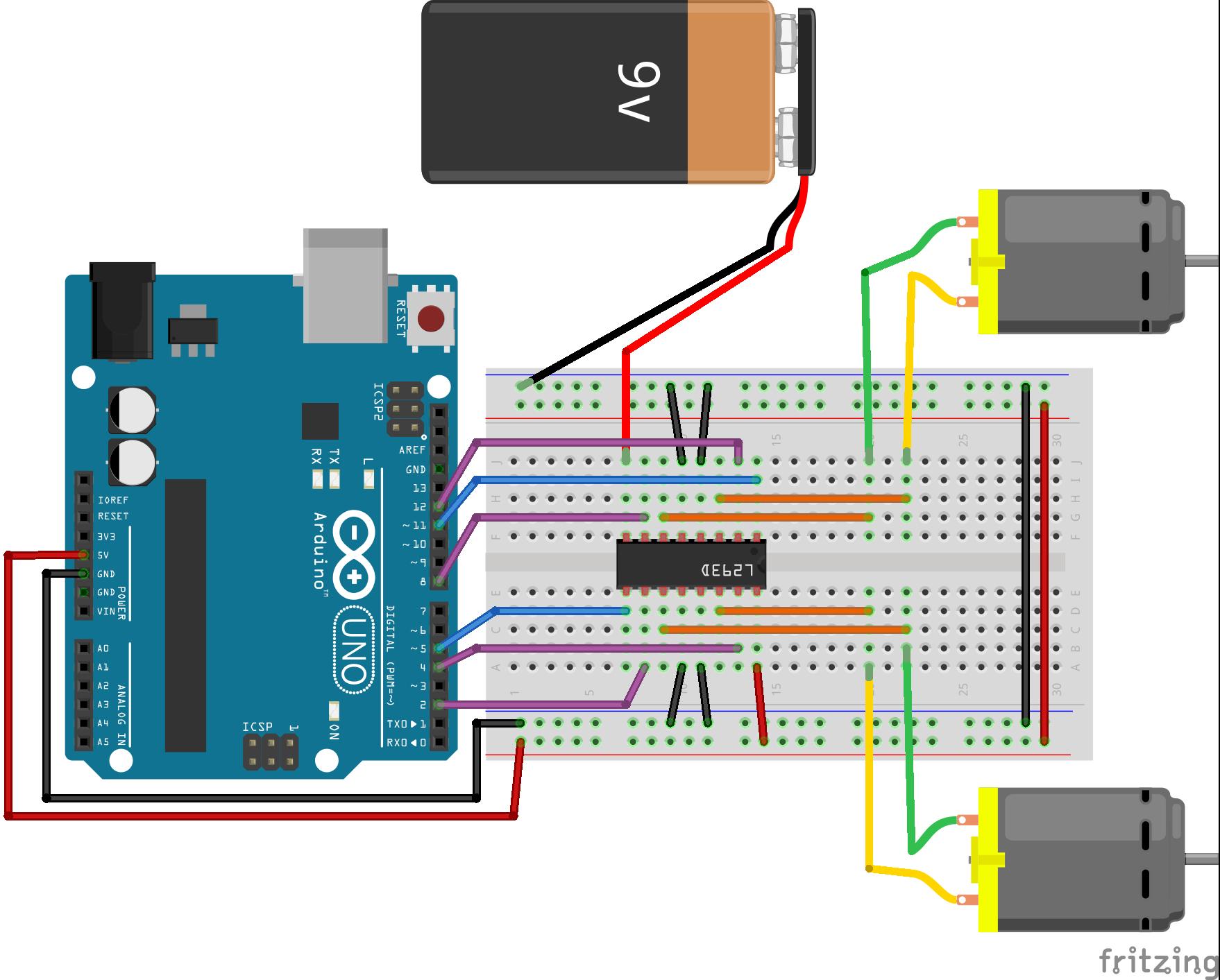 Connexion Arduino, L293D, 2 moteurs CC, une alimentation 9V