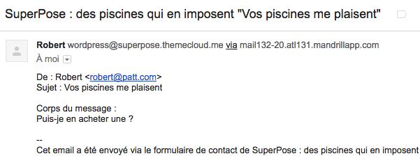 Le mail que j'ai reçu après avoir testé mon formulaire de contact