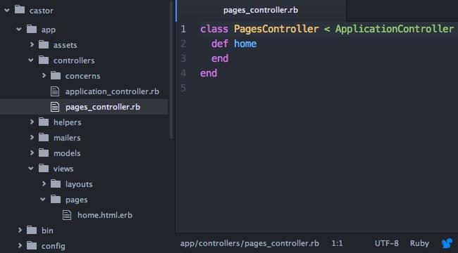 Capture d'écran du fichier app/controllers/pages_controller.rb dans le logiciel Atom