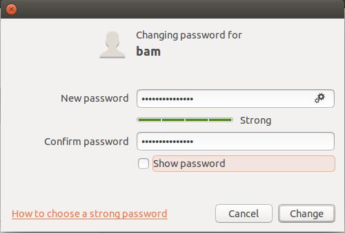 Création mot de passe sur Ubuntu