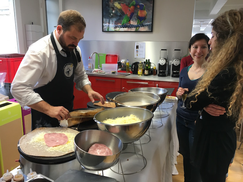 A crepe party with a chef coming for us at the office!