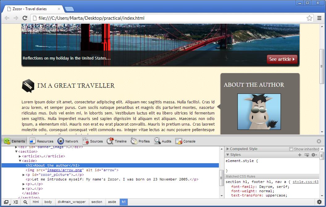 Herramienta de depuración de Google Chrome (en la parte inferior del navegador)