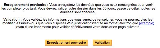 Enregistrement ou validation