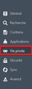 L'onglet Vie privée