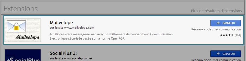 Téléchargement de Mailvelope pour Chrome