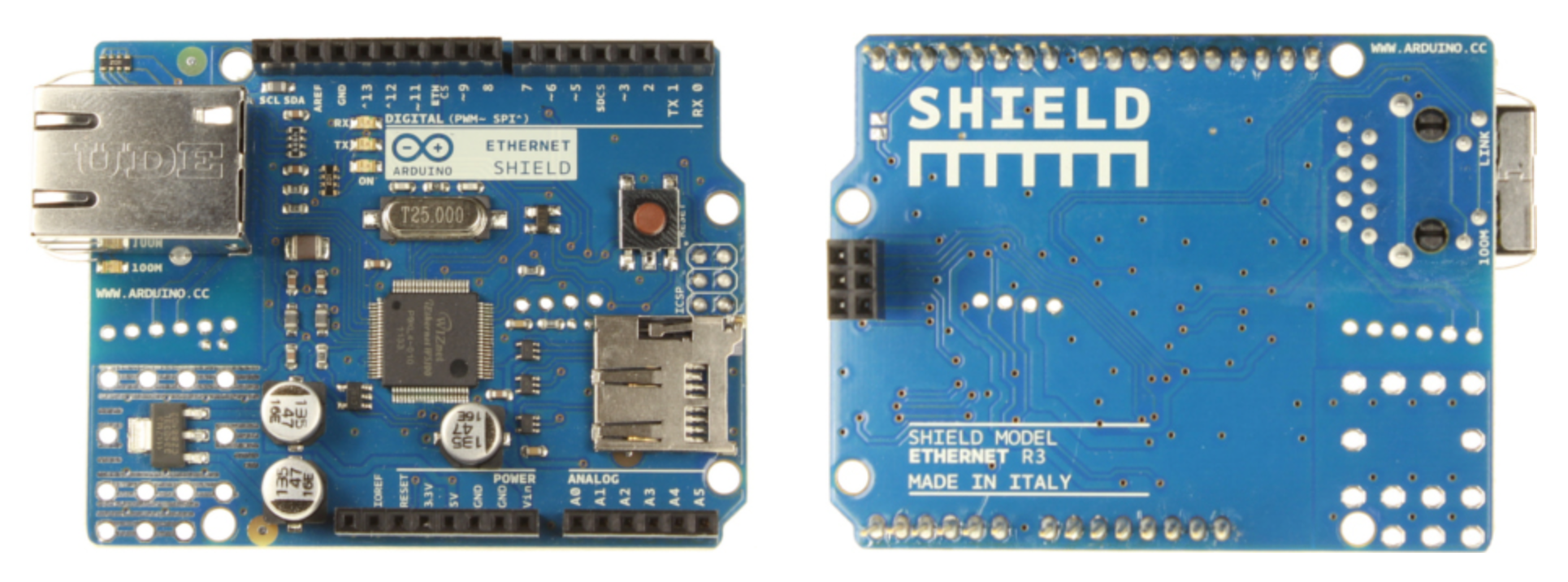 Arduino shield ethernet vu de dessus (à gauche) et de dessous (à droite)