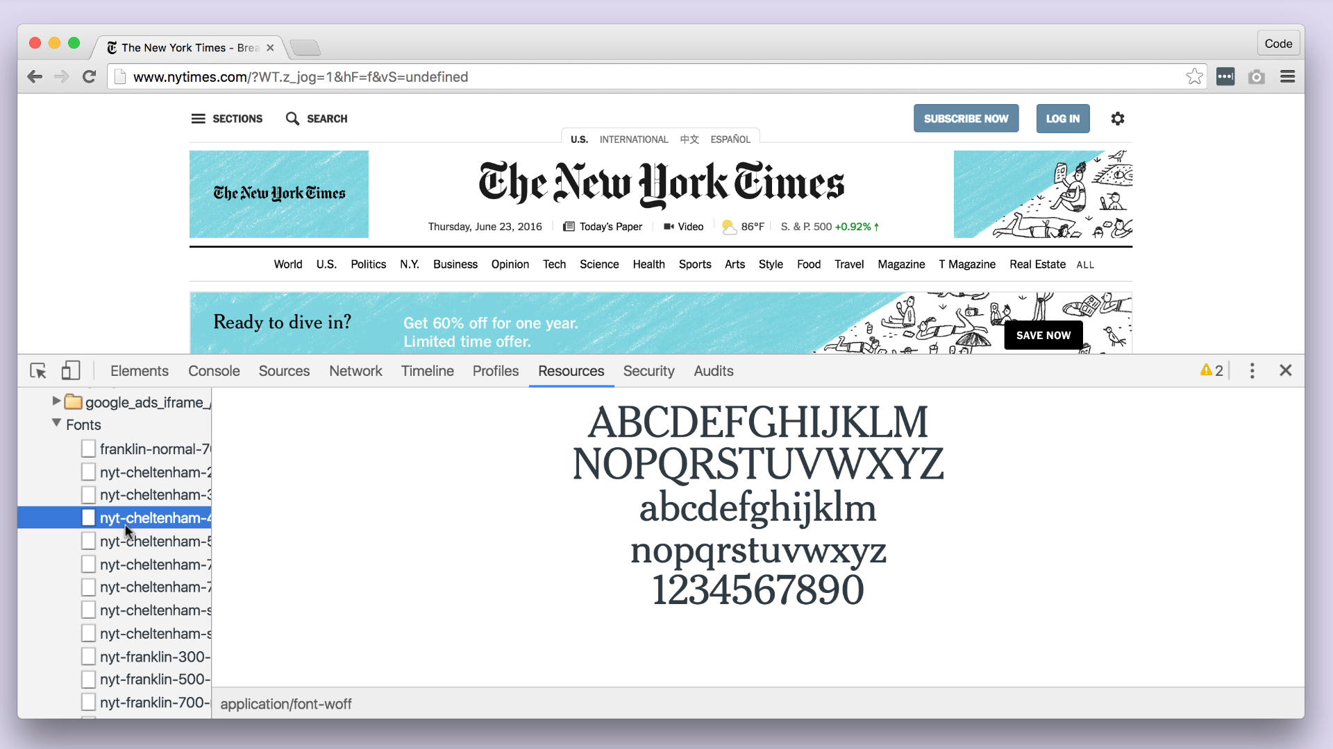 Fonts on the New York Times (cool!)
