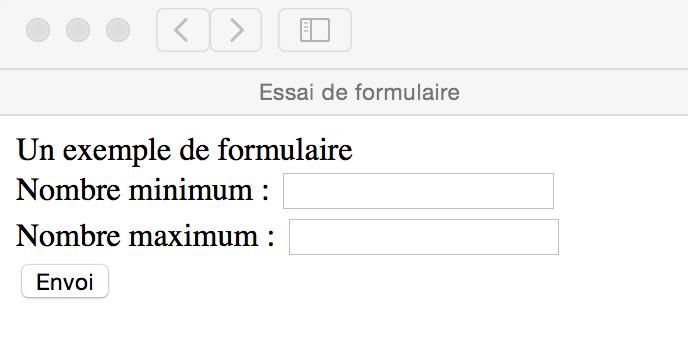 Un exemple de formulaire (affichage sur Safari)